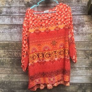 Colorful long and flowy plus size top 3X